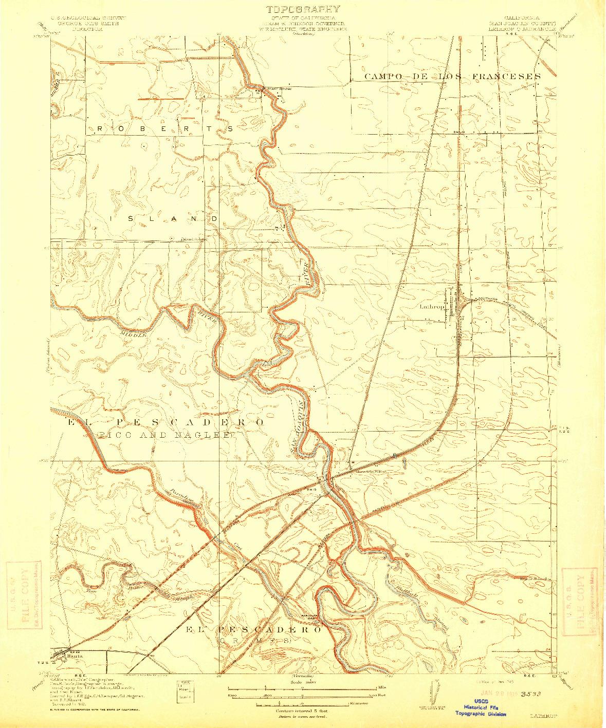 USGS 1:31680-SCALE QUADRANGLE FOR LATHROP, CA 1915