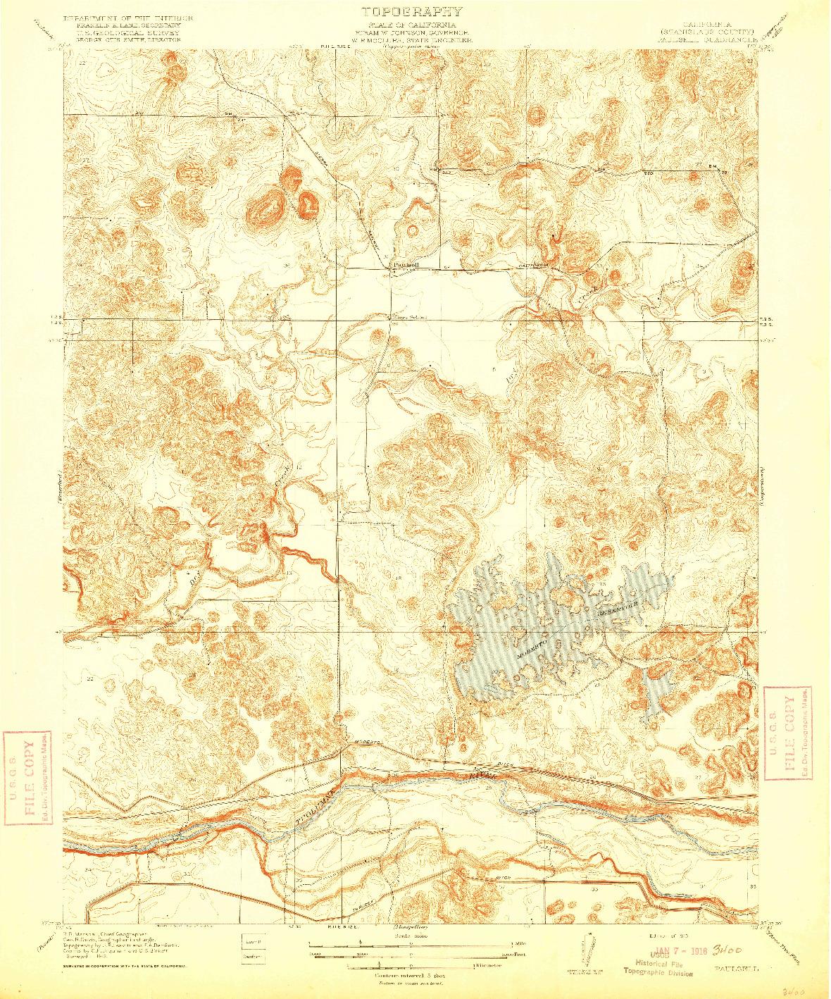 USGS 1:31680-SCALE QUADRANGLE FOR PAULSELL, CA 1915