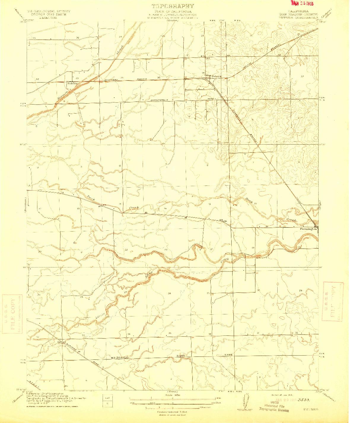USGS 1:31680-SCALE QUADRANGLE FOR PETERS, CA 1915