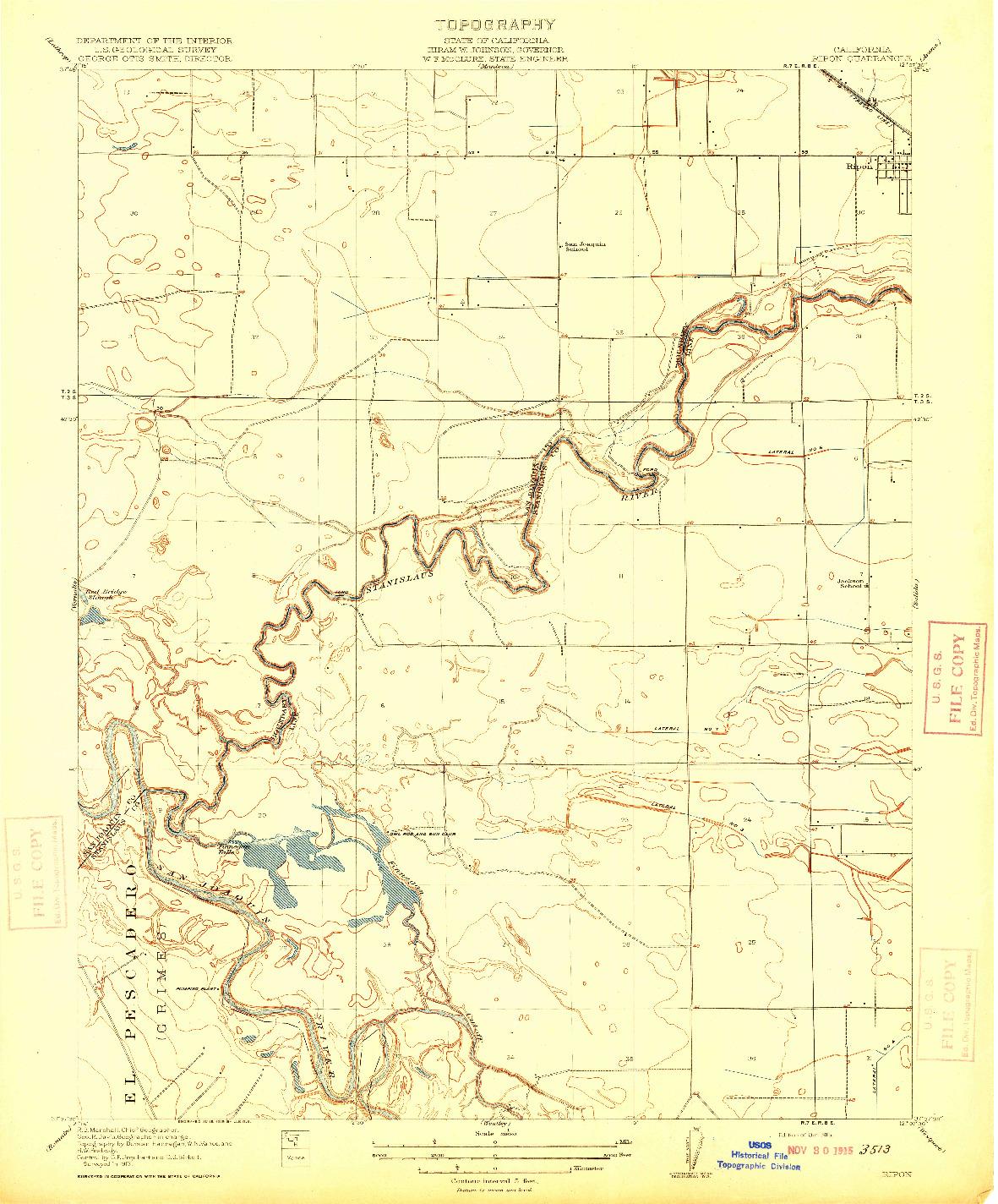 USGS 1:31680-SCALE QUADRANGLE FOR RIPON, CA 1915