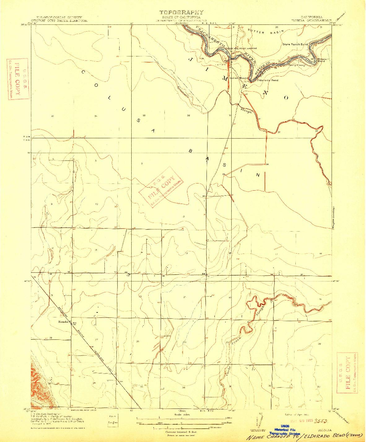 USGS 1:31680-SCALE QUADRANGLE FOR RONDA, CA 1915