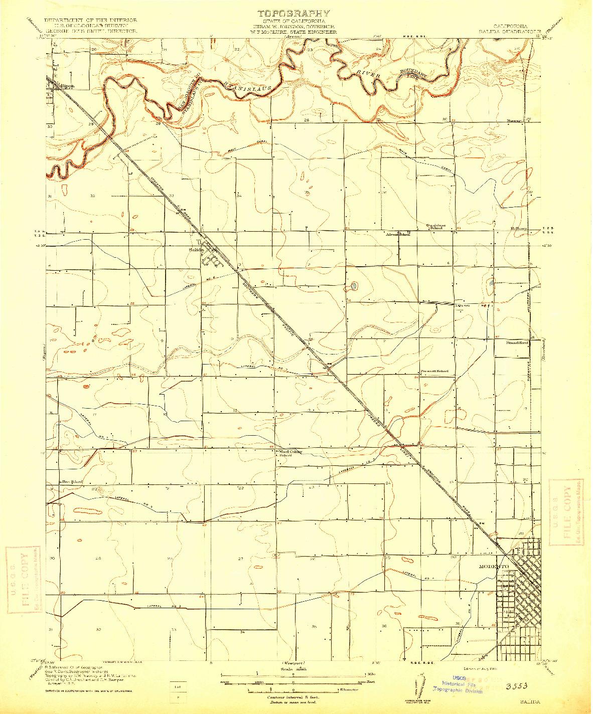USGS 1:31680-SCALE QUADRANGLE FOR SALIDA, CA 1915