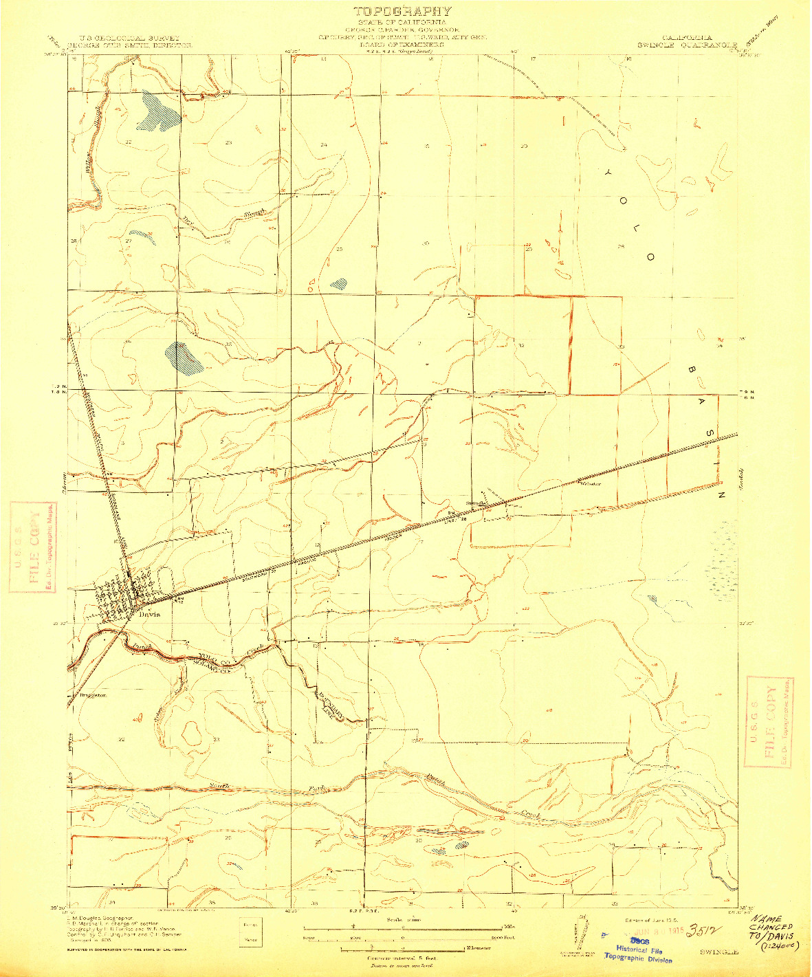 USGS 1:31680-SCALE QUADRANGLE FOR SWINGLE, CA 1915