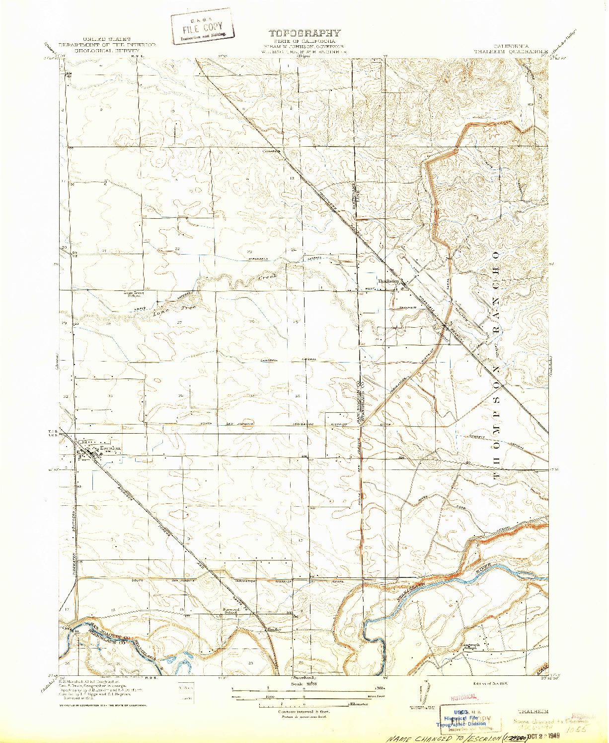 USGS 1:31680-SCALE QUADRANGLE FOR THALHEIM, CA 1915