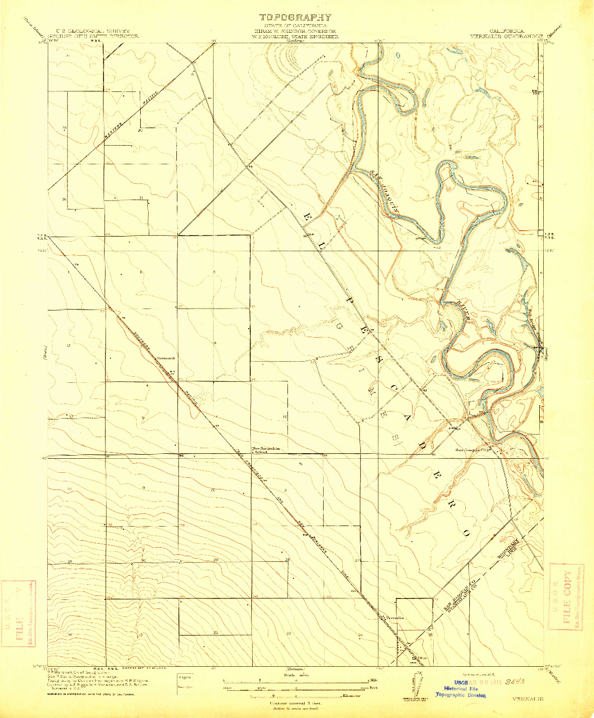 USGS 1:31680-SCALE QUADRANGLE FOR VERNALIS, CA 1915