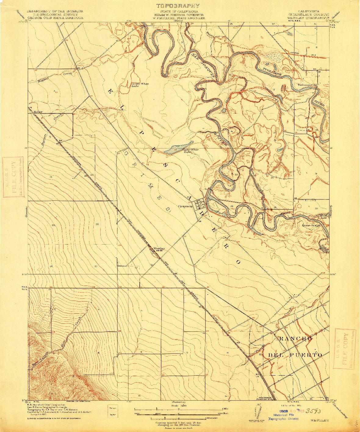 USGS 1:31680-SCALE QUADRANGLE FOR WESTLEY, CA 1915