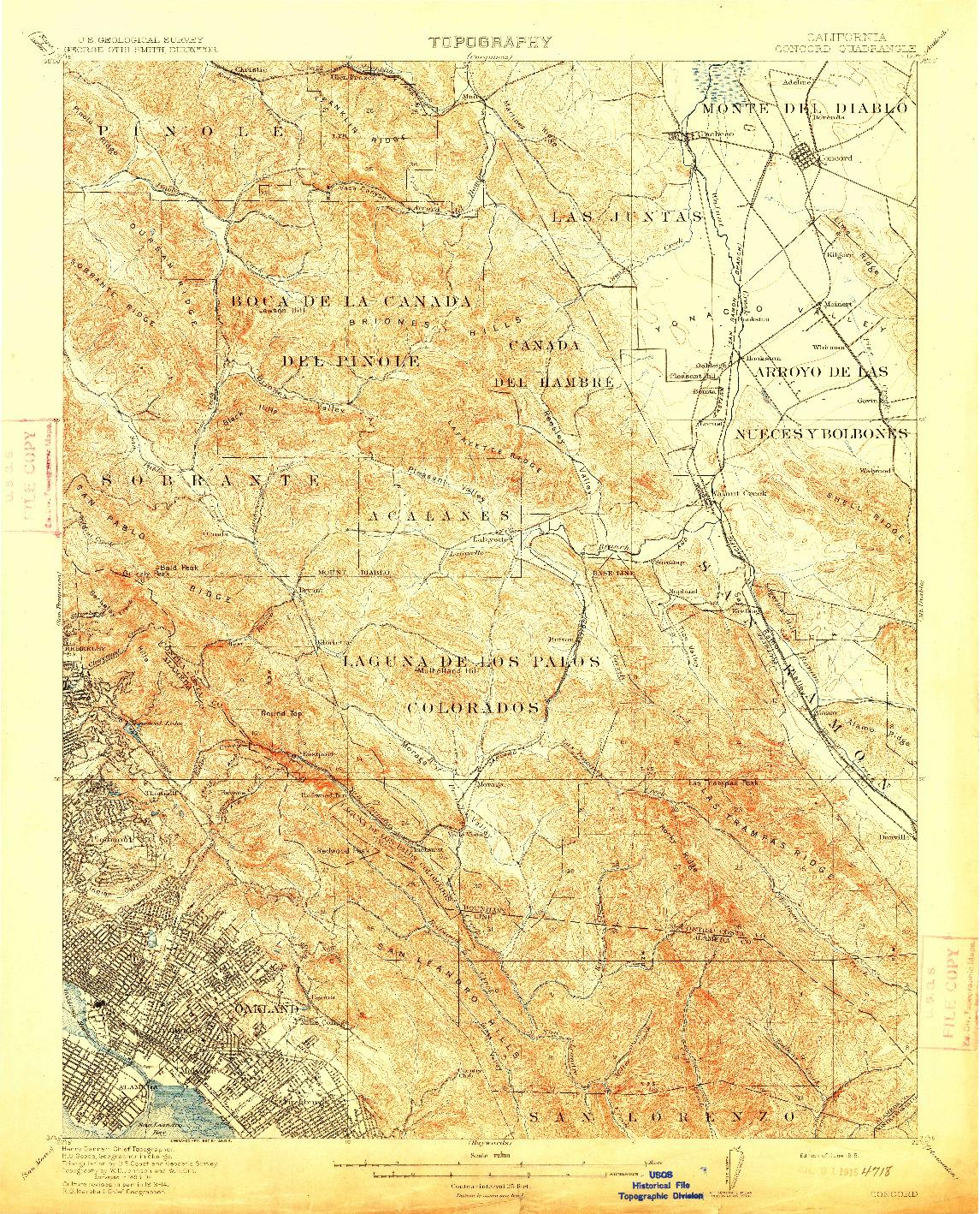 USGS 1:62500-SCALE QUADRANGLE FOR CONCORD, CA 1915