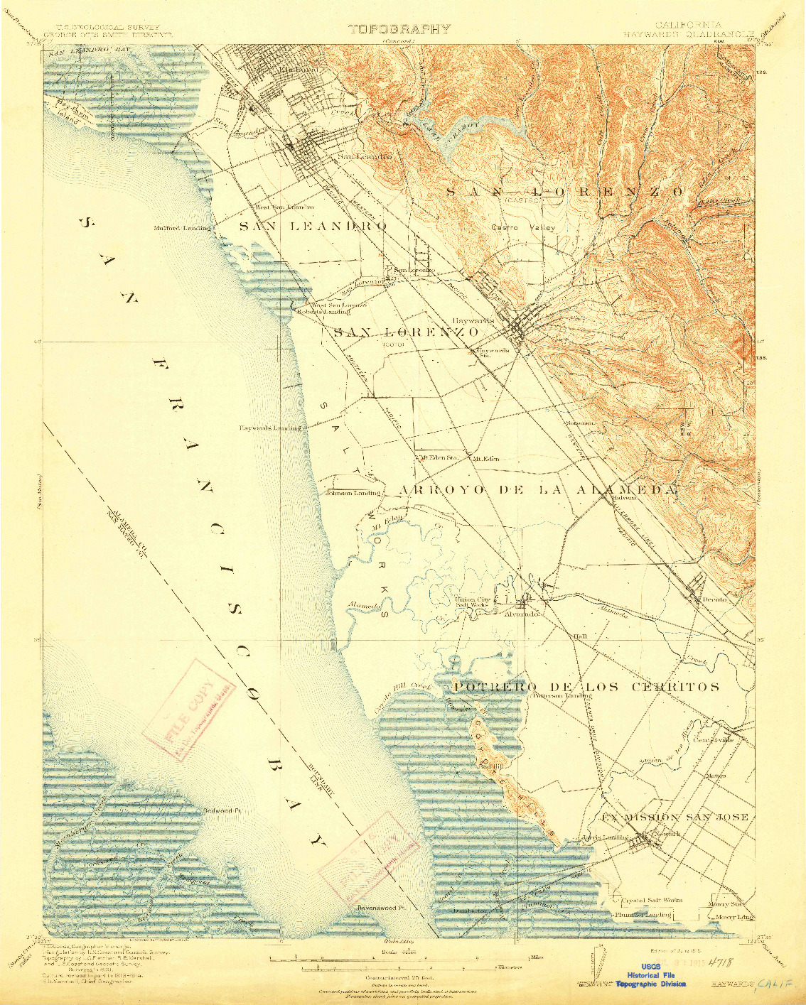 USGS 1:62500-SCALE QUADRANGLE FOR HAYWARDS, CA 1915