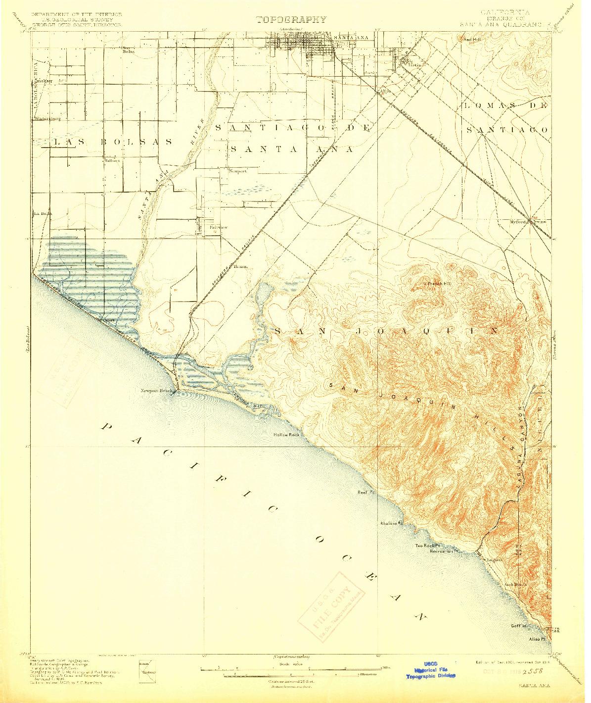 USGS 1:62500-SCALE QUADRANGLE FOR SANTA ANA, CA 1901