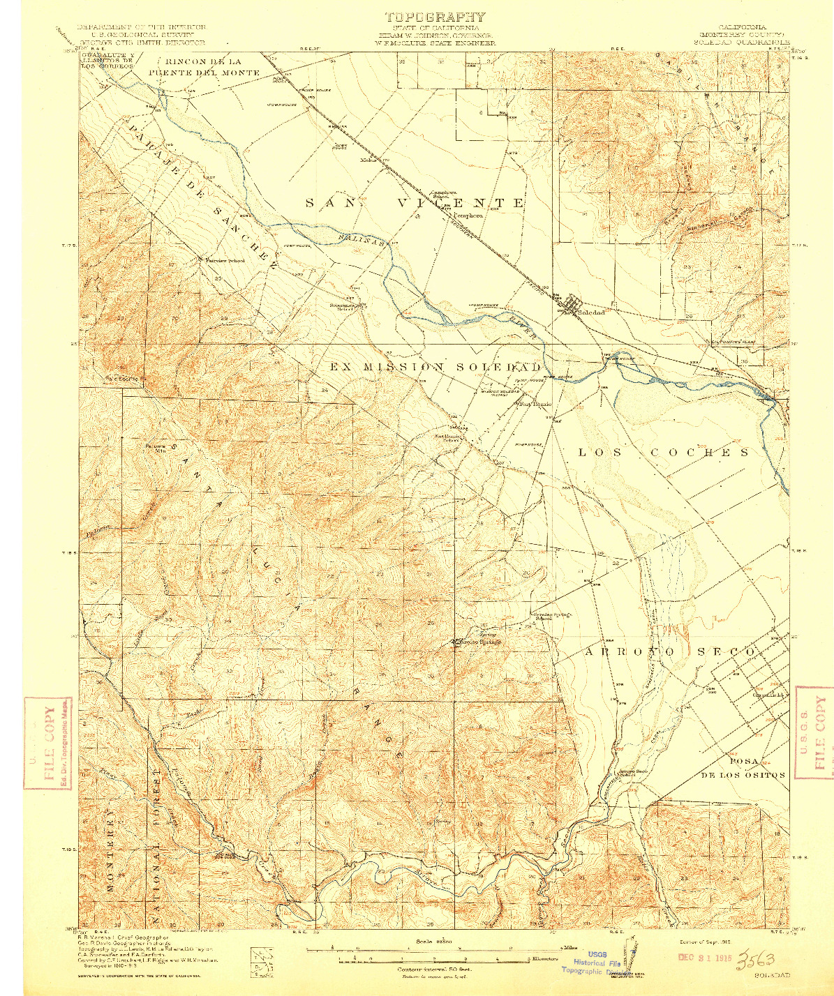 USGS 1:62500-SCALE QUADRANGLE FOR SOLEDAD, CA 1915