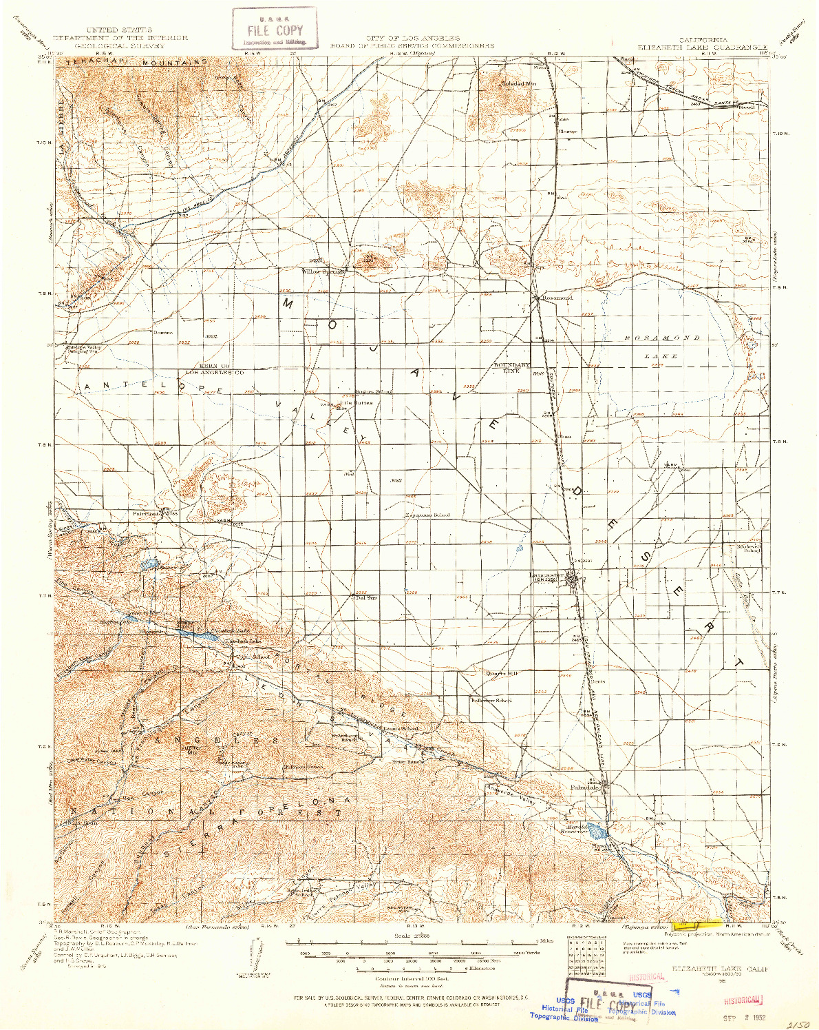 USGS 1:125000-SCALE QUADRANGLE FOR ELIZABETH LAKE, CA 1915