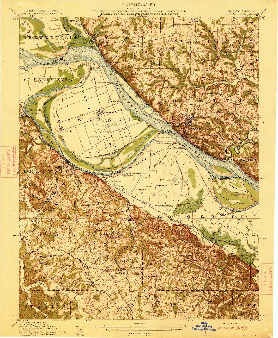 USGS 1:62500-SCALE QUADRANGLE FOR CHESTER, IL 1915