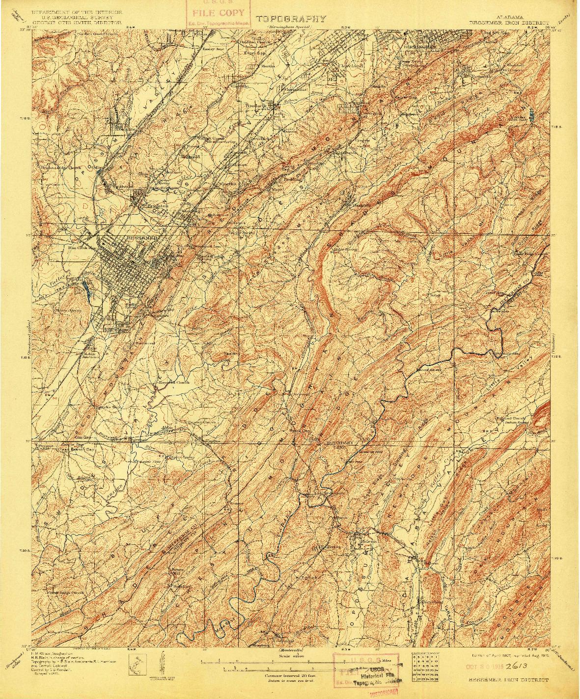 USGS 1:62500-SCALE QUADRANGLE FOR BESSEMER IRON DISTRICT, AL 1907
