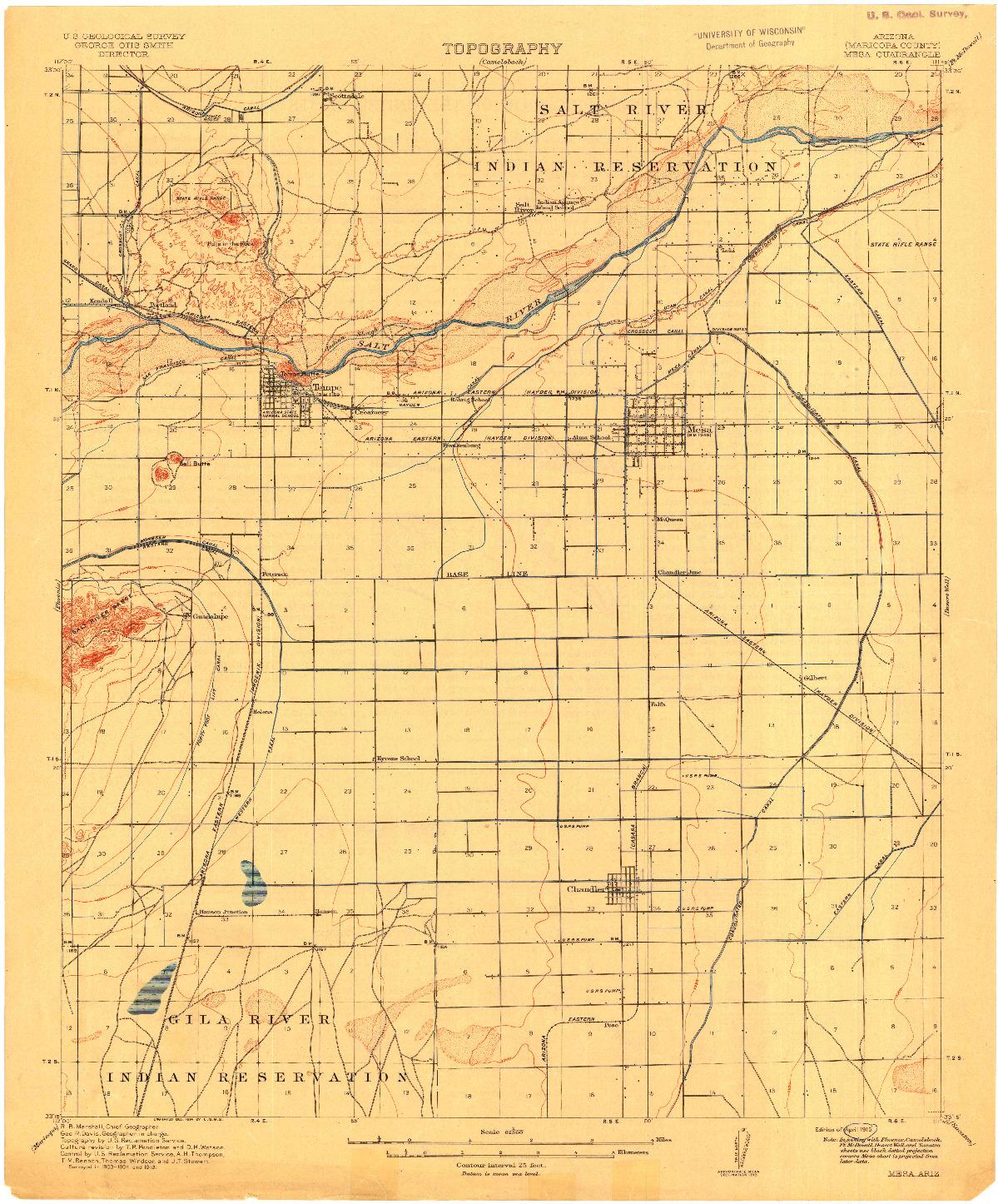 USGS 1:62500-SCALE QUADRANGLE FOR MESA, AZ 1915