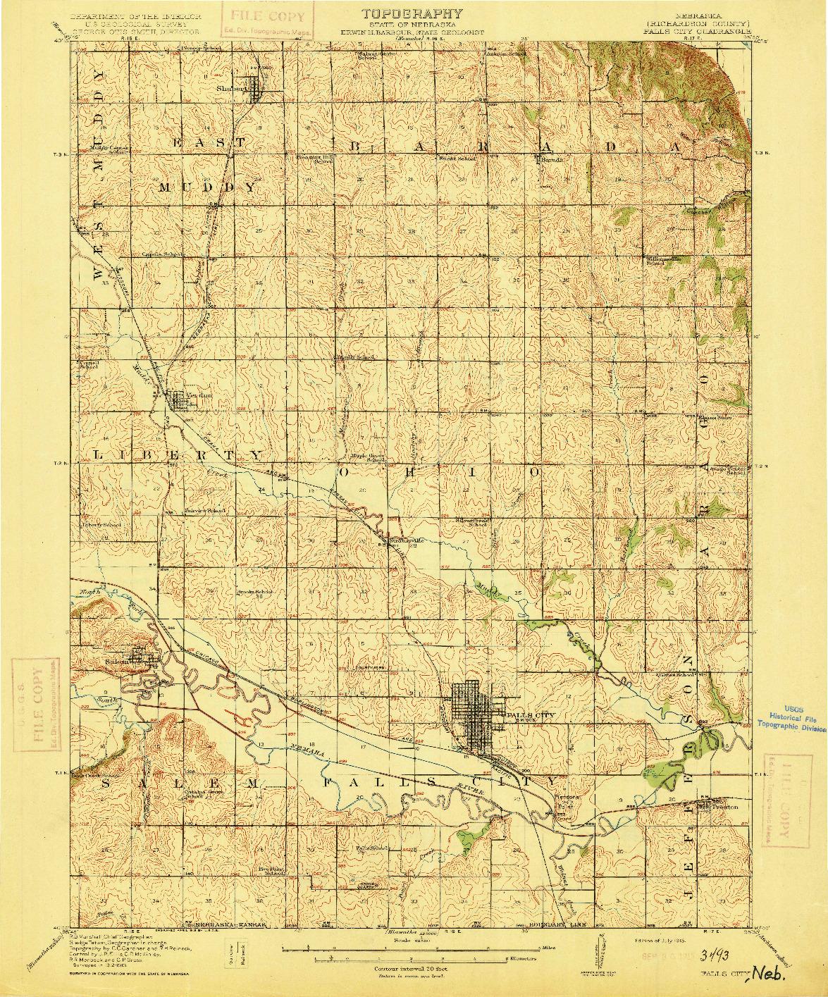 USGS 1:62500-SCALE QUADRANGLE FOR FALLS CITY, NE 1915