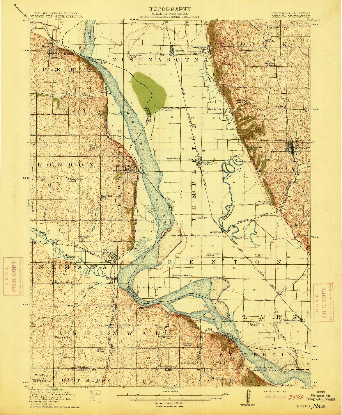 USGS 1:62500-SCALE QUADRANGLE FOR NEMAHA, NE 1915