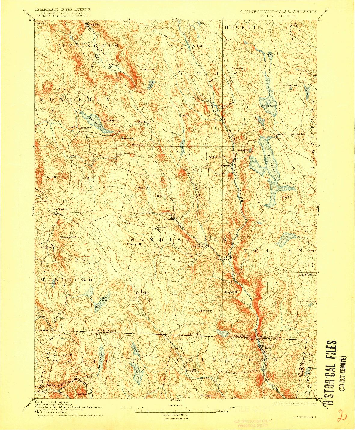 USGS 1:62500-SCALE QUADRANGLE FOR SANDISFIELD, CT 1907