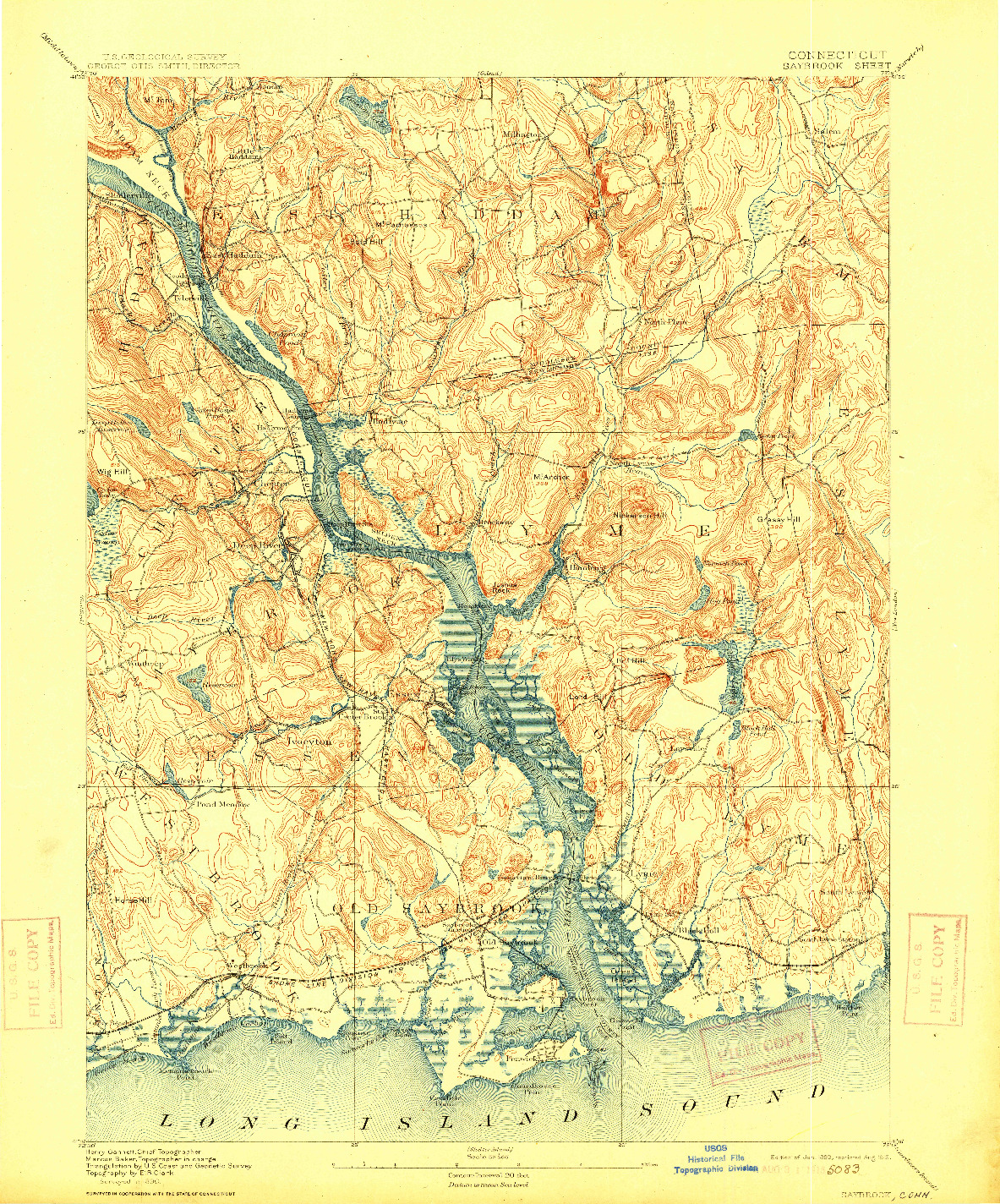 USGS 1:62500-SCALE QUADRANGLE FOR SAYBROOK, CT 1893