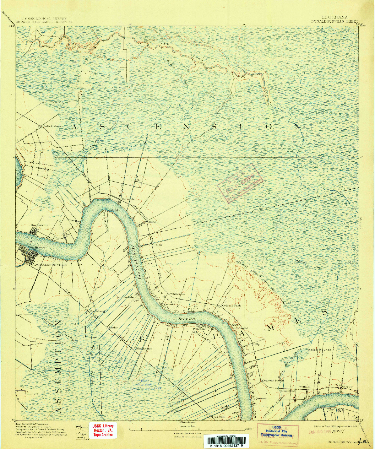 USGS 1:62500-SCALE QUADRANGLE FOR DONALDSONVILLE, LA 1892