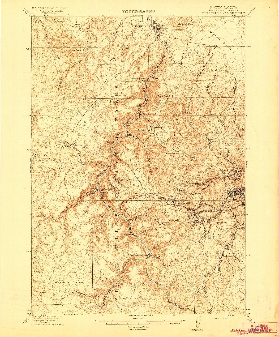 USGS 1:62500-SCALE QUADRANGLE FOR SPEARFISH, SD 1915