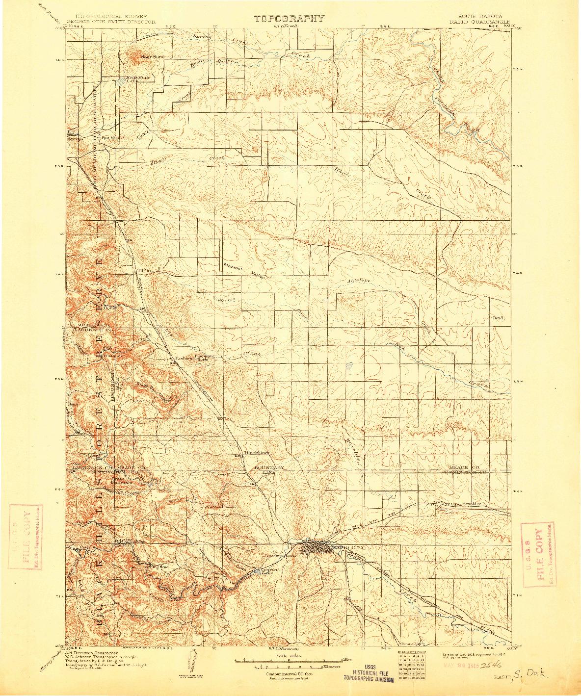 USGS 1:125000-SCALE QUADRANGLE FOR RAPID, SD 1903