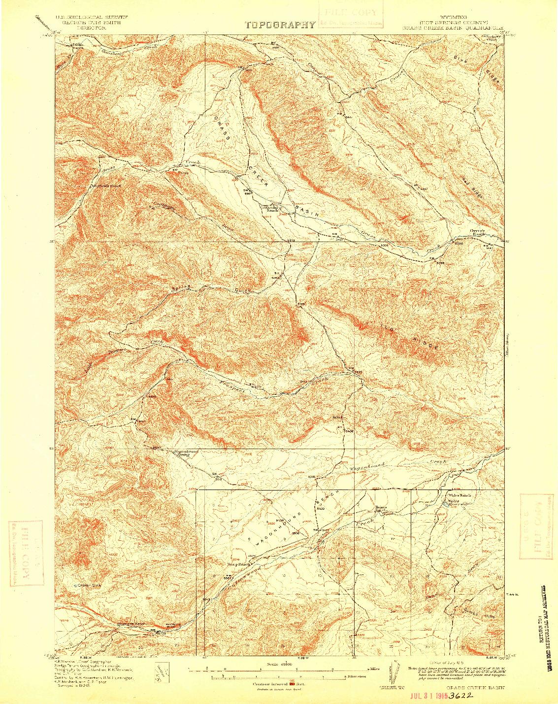 USGS 1:62500-SCALE QUADRANGLE FOR GRASS CREEK BASIN, WY 1915