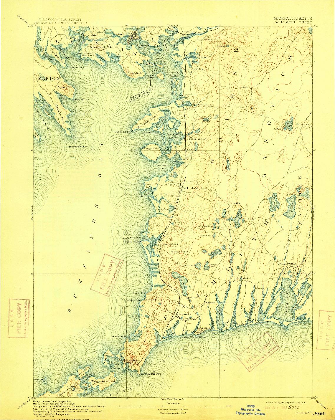 USGS 1:62500-SCALE QUADRANGLE FOR FALMOUTH, MA 1893