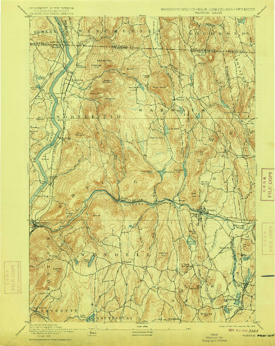 USGS 1:62500-SCALE QUADRANGLE FOR WARWICK, MA 1894