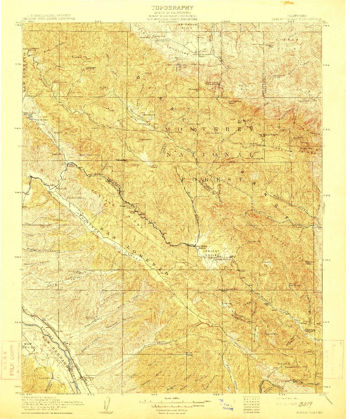 USGS 1:125000-SCALE QUADRANGLE FOR PRIEST VALLEY, CA 1915