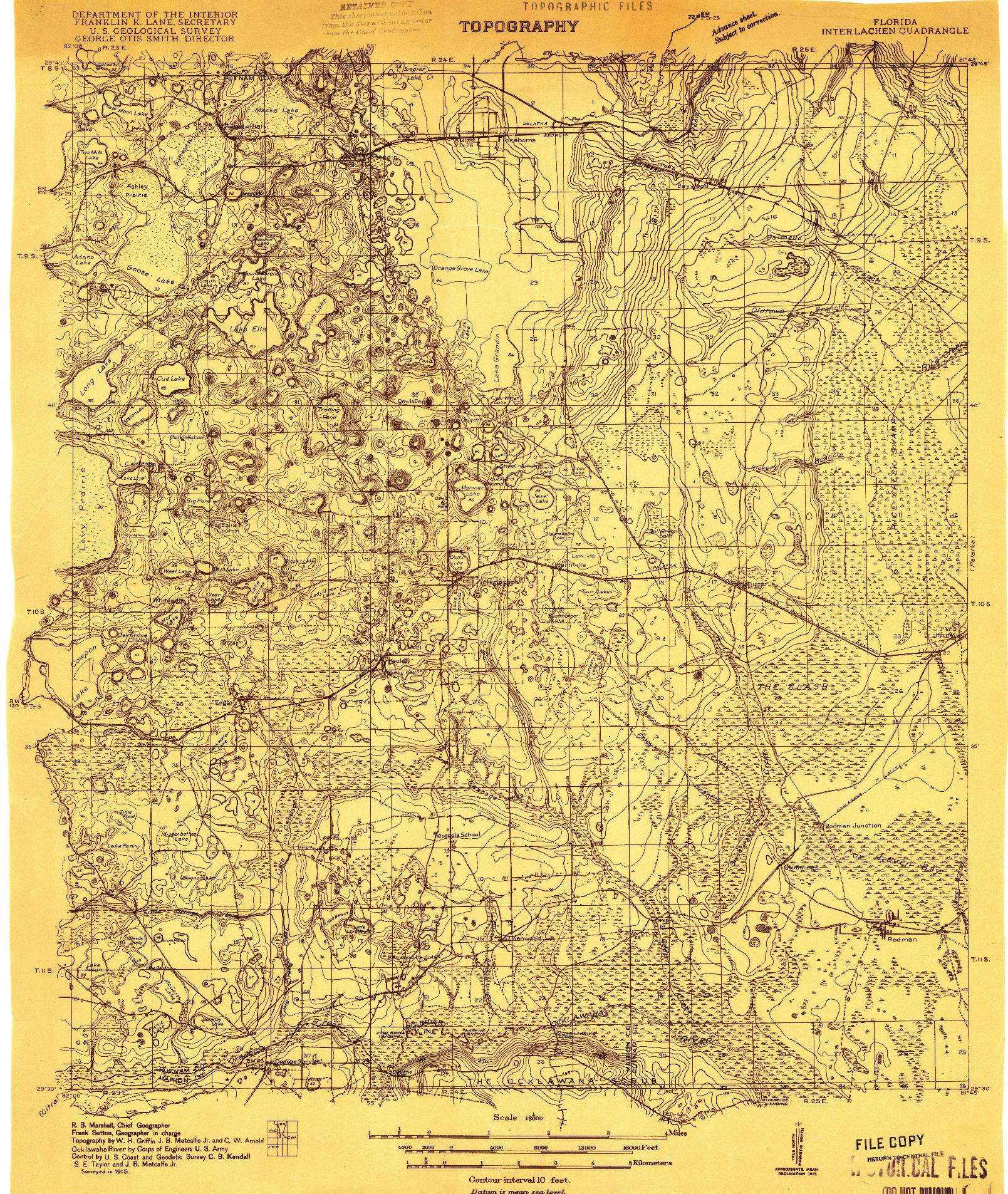 USGS 1:48000-SCALE QUADRANGLE FOR INTERLACHEN, FL 1915