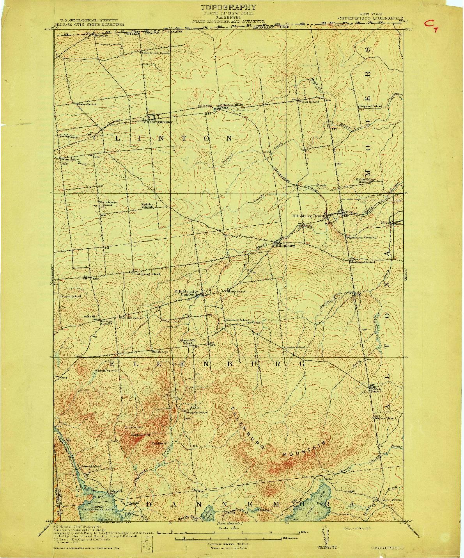 USGS 1:62500-SCALE QUADRANGLE FOR CHURUBUSCO, NY 1915