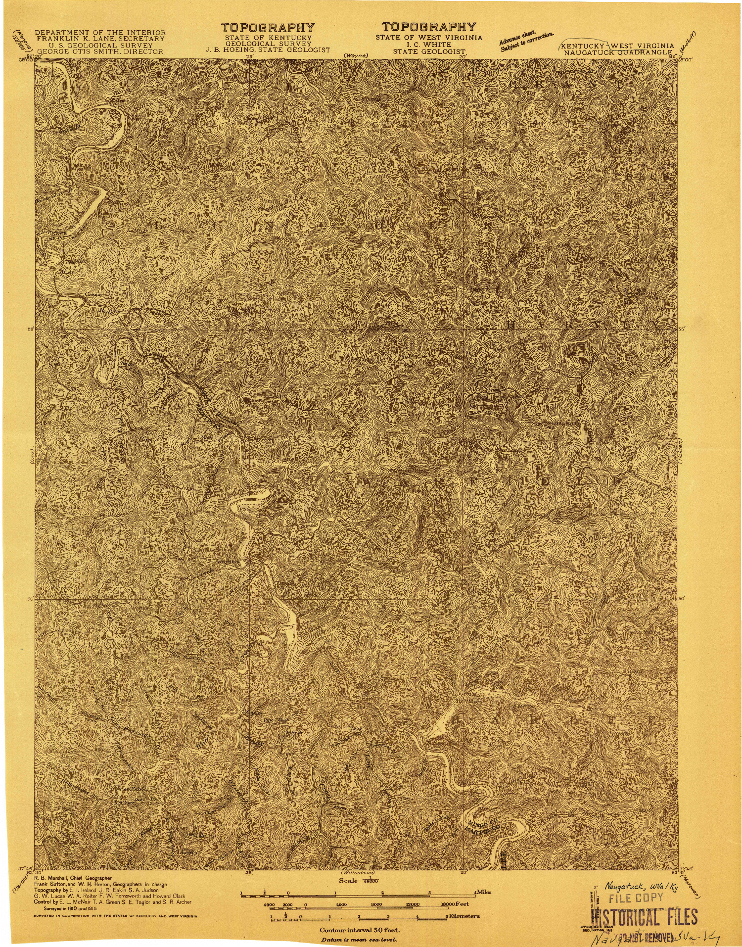 USGS 1:48000-SCALE QUADRANGLE FOR NAUGATUCK, WV 1915