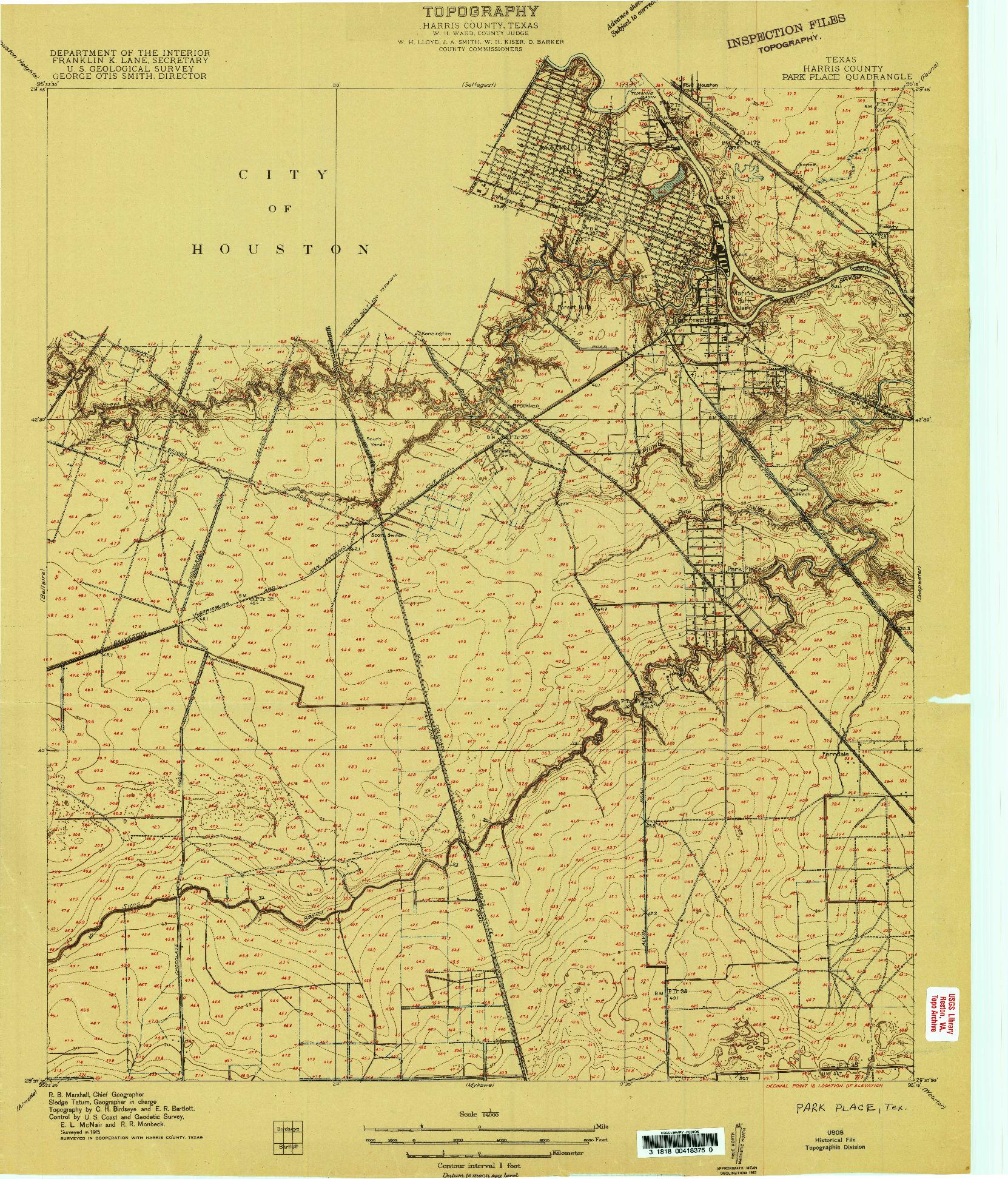 USGS 1:24000-SCALE QUADRANGLE FOR PARK PLACE, TX 1915