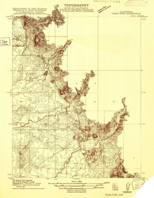 USGS 1:31680-SCALE QUADRANGLE FOR OWENS CREEK, CA 1915