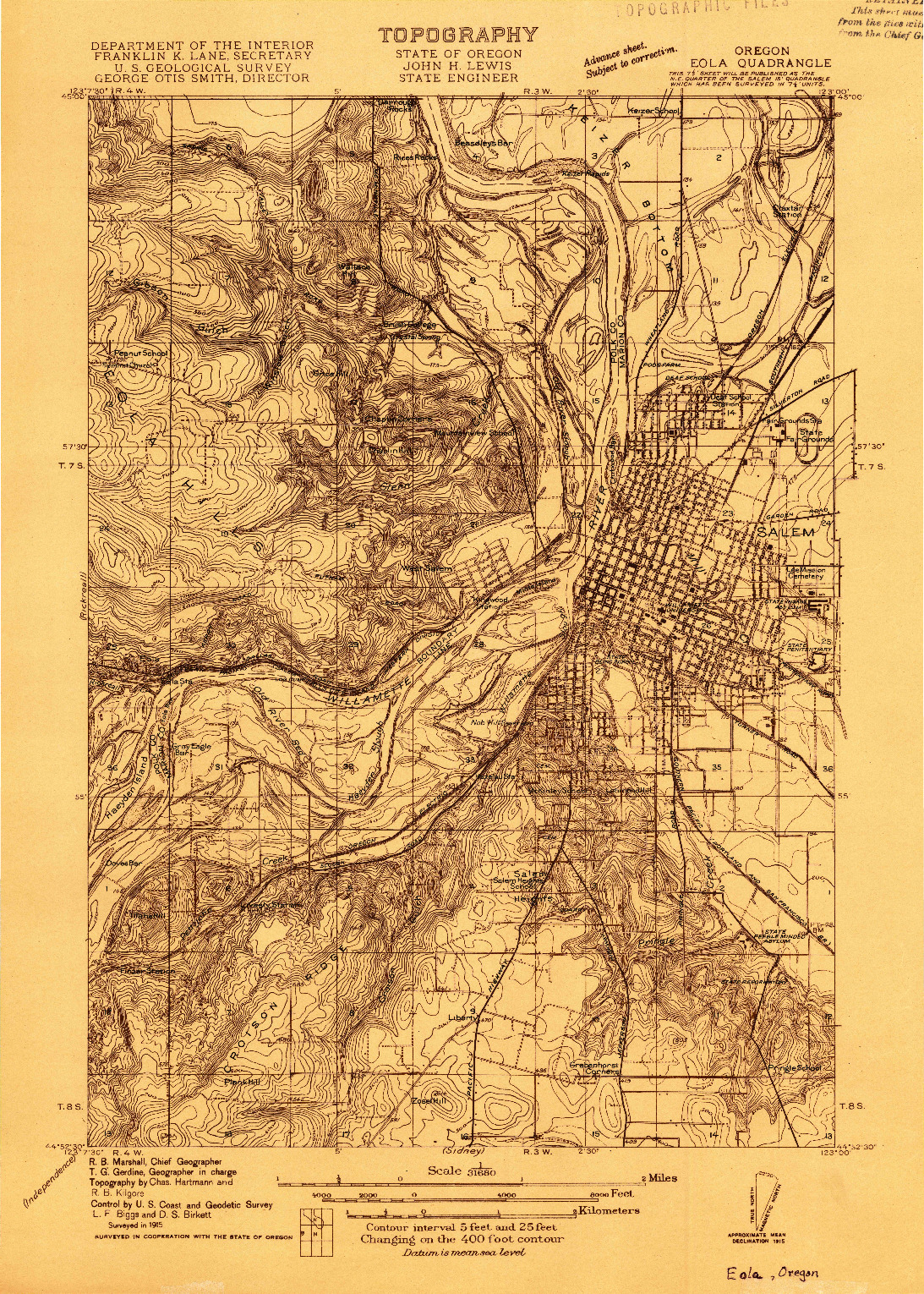 USGS 1:31680-SCALE QUADRANGLE FOR EOLA, OR 1915