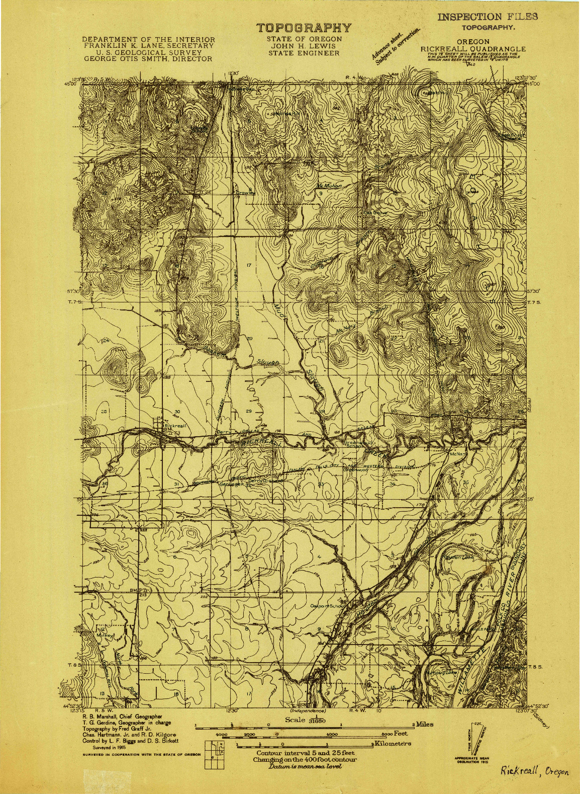 USGS 1:31680-SCALE QUADRANGLE FOR RICKREALL, OR 1915
