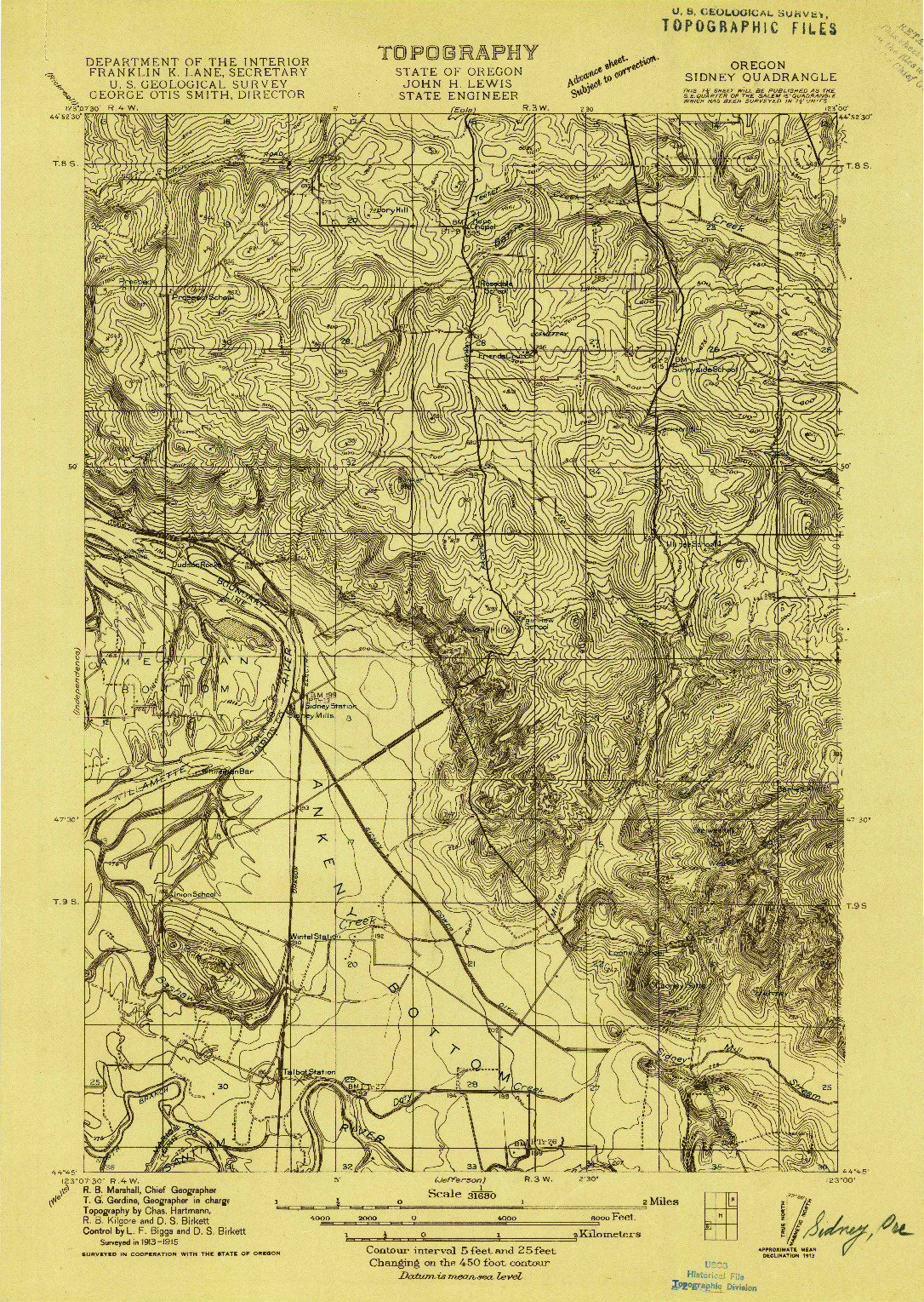 USGS 1:31680-SCALE QUADRANGLE FOR SIDNEY, OR 1915