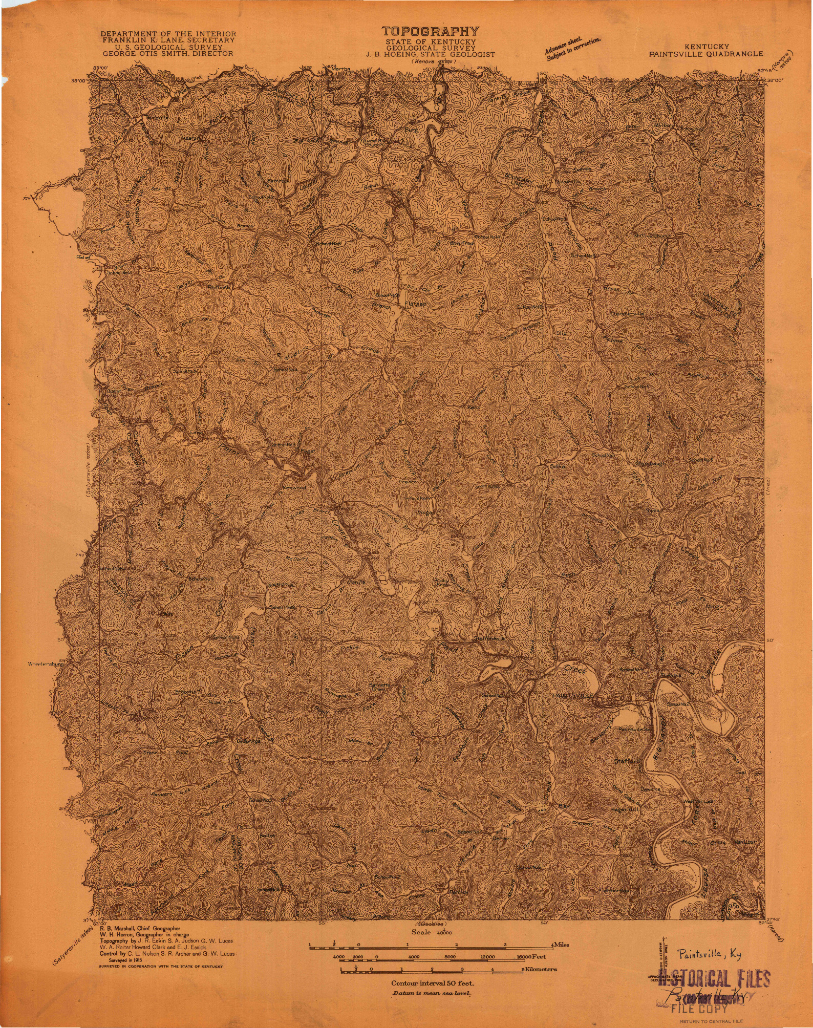 USGS 1:48000-SCALE QUADRANGLE FOR PAINTSVILLE, KY 1915