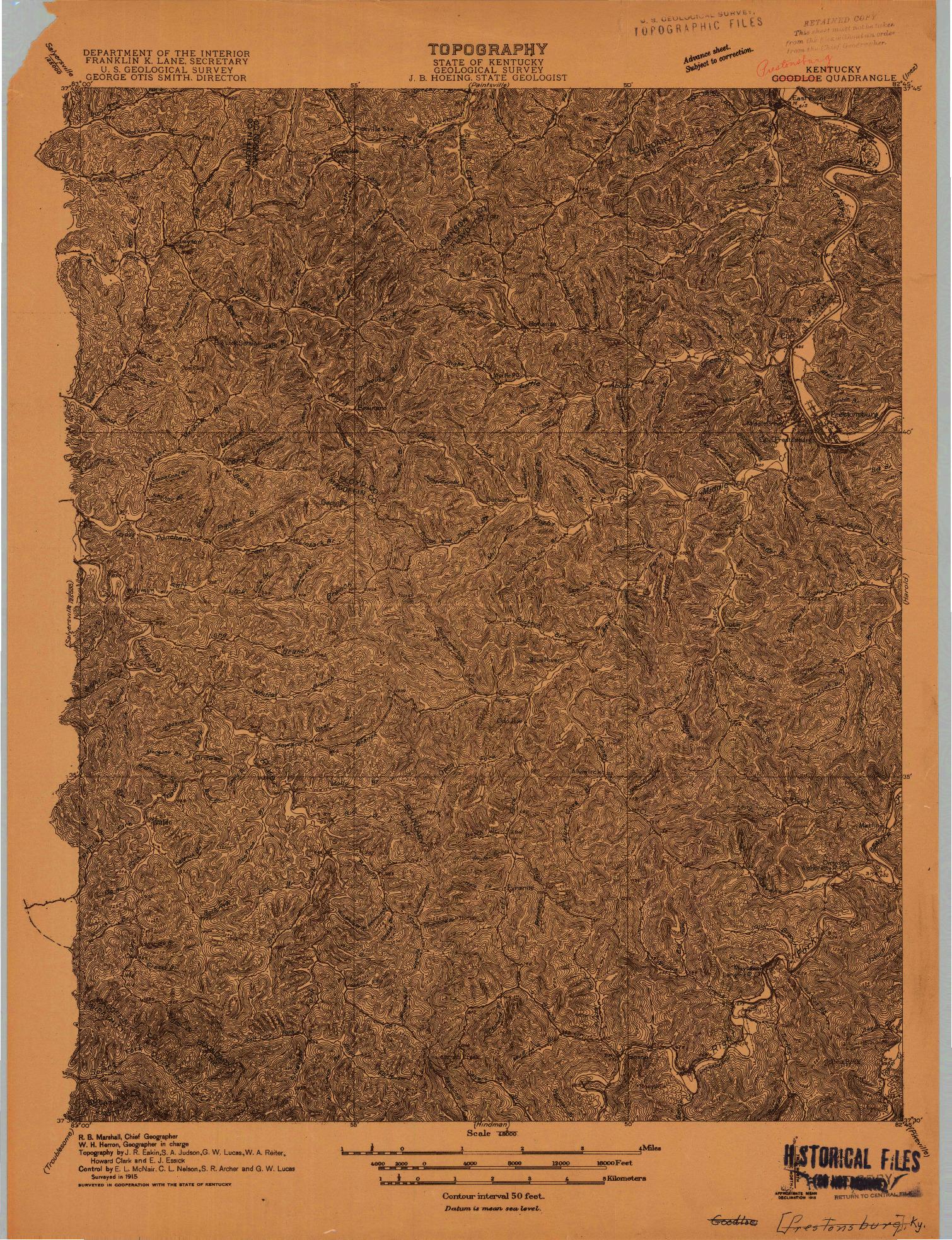 USGS 1:48000-SCALE QUADRANGLE FOR PRESTONSBURG, KY 1915