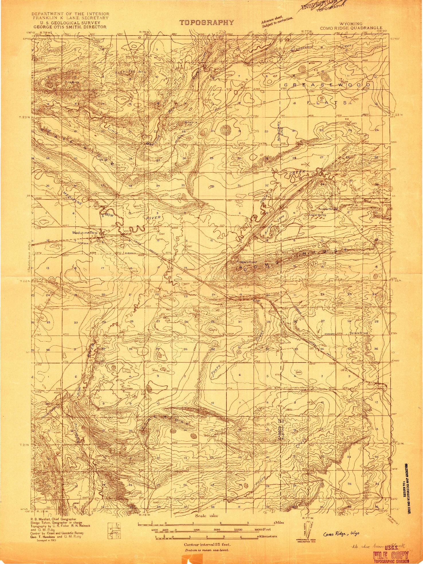 USGS 1:48000-SCALE QUADRANGLE FOR COMO RIDGE, WY 1915