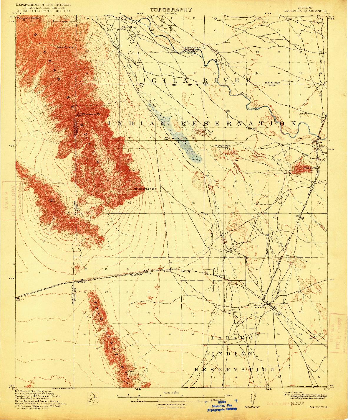 USGS 1:62500-SCALE QUADRANGLE FOR MARICOPA, AZ 1915