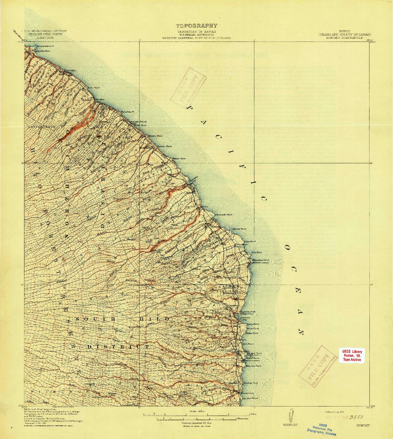 USGS 1:62500-SCALE QUADRANGLE FOR HONOMU, HI 1915