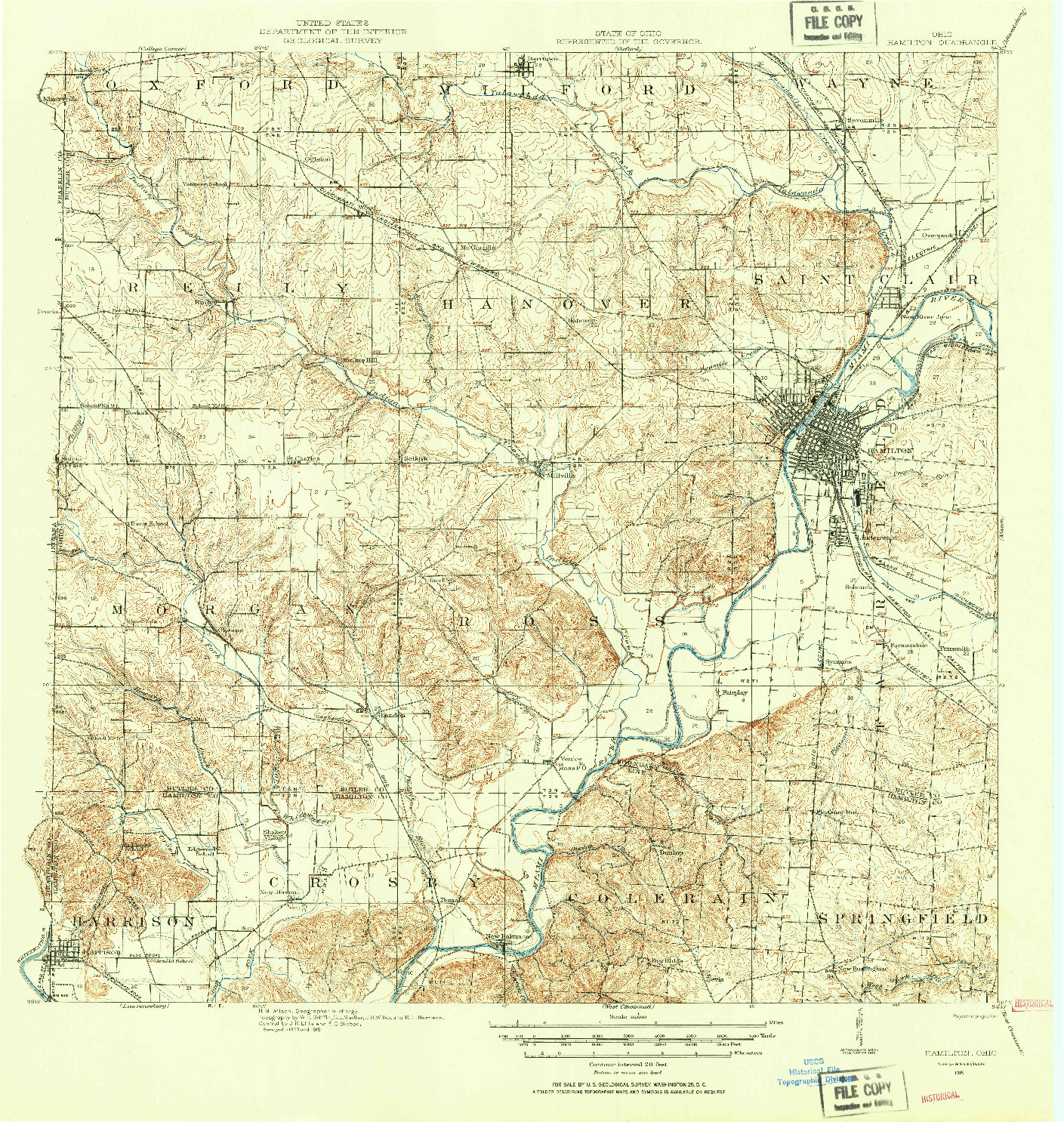 USGS 1:62500-SCALE QUADRANGLE FOR HAMILTON, OH 1915