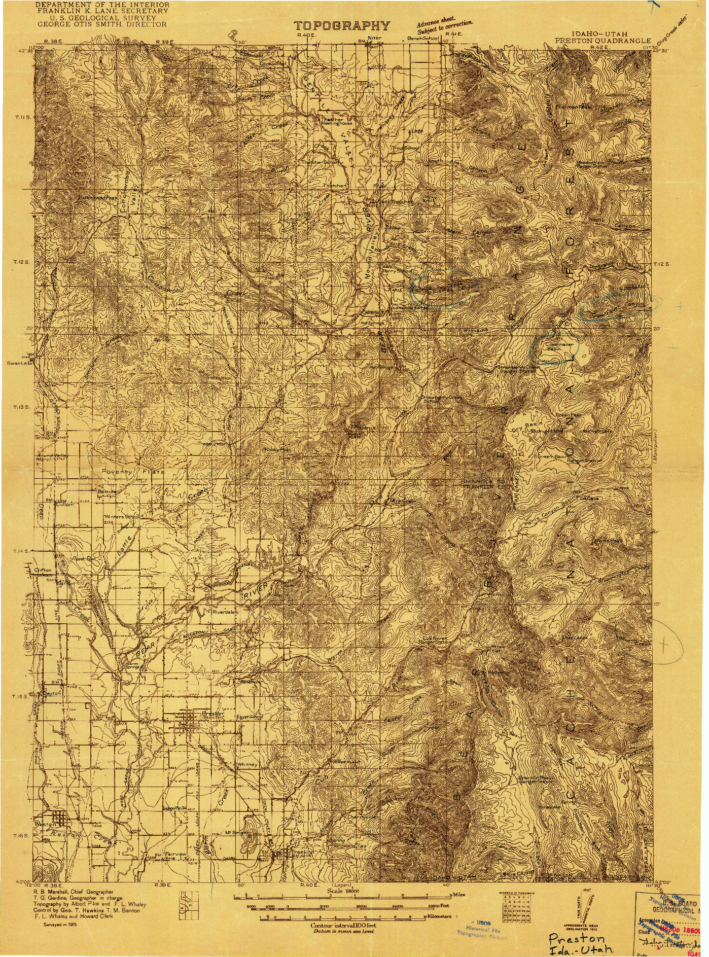 USGS 1:96000-SCALE QUADRANGLE FOR PRESTON, ID 1915