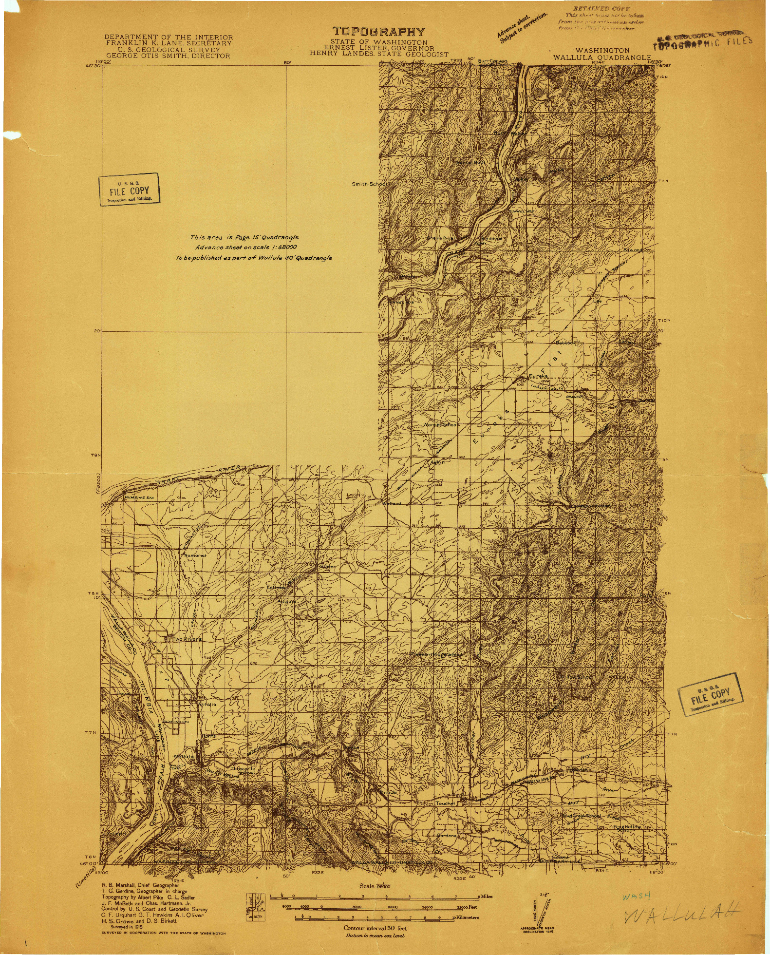 USGS 1:96000-SCALE QUADRANGLE FOR WALLULAH, WA 1915