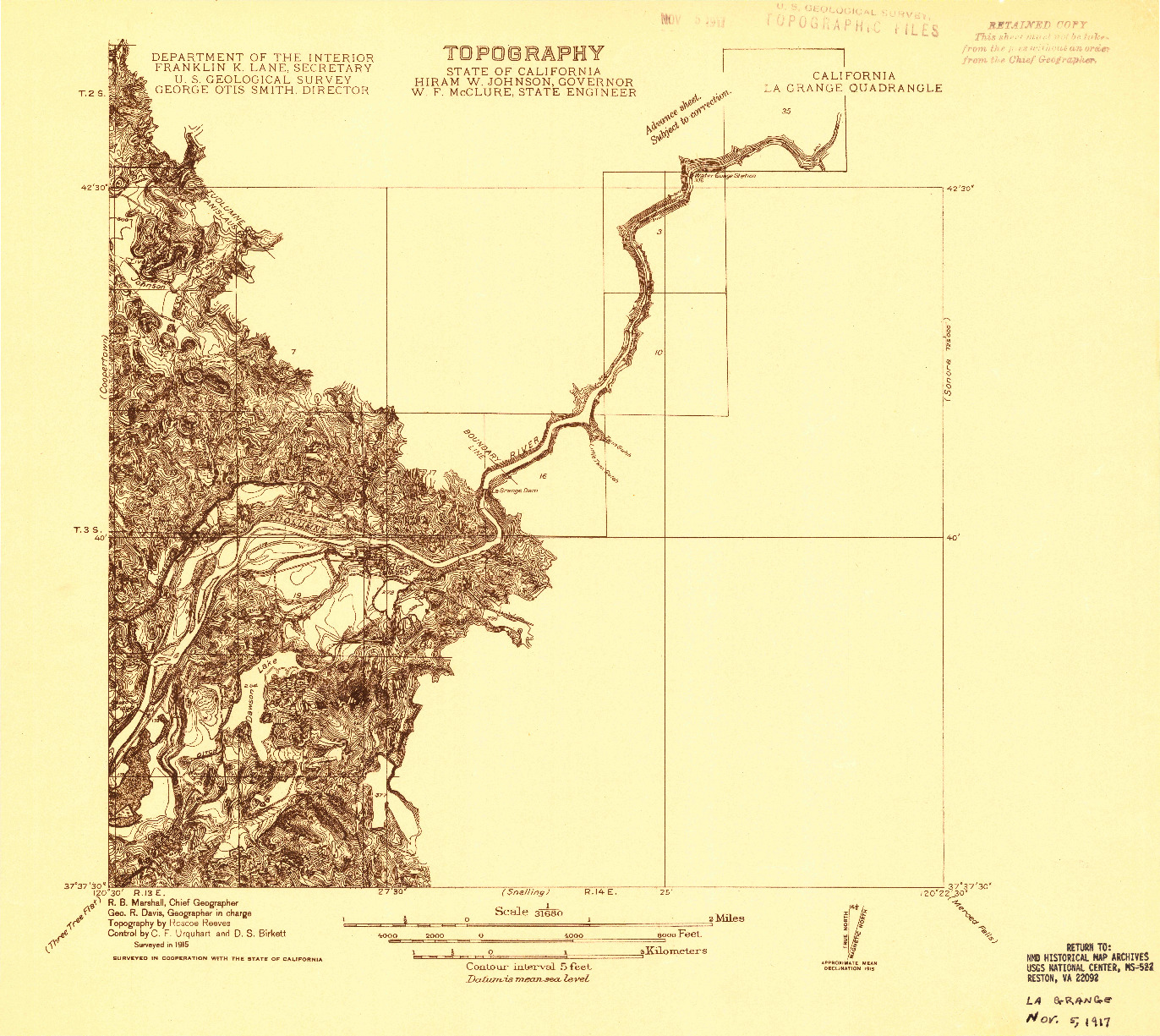 USGS 1:31680-SCALE QUADRANGLE FOR LA GRANGE, CA 1915