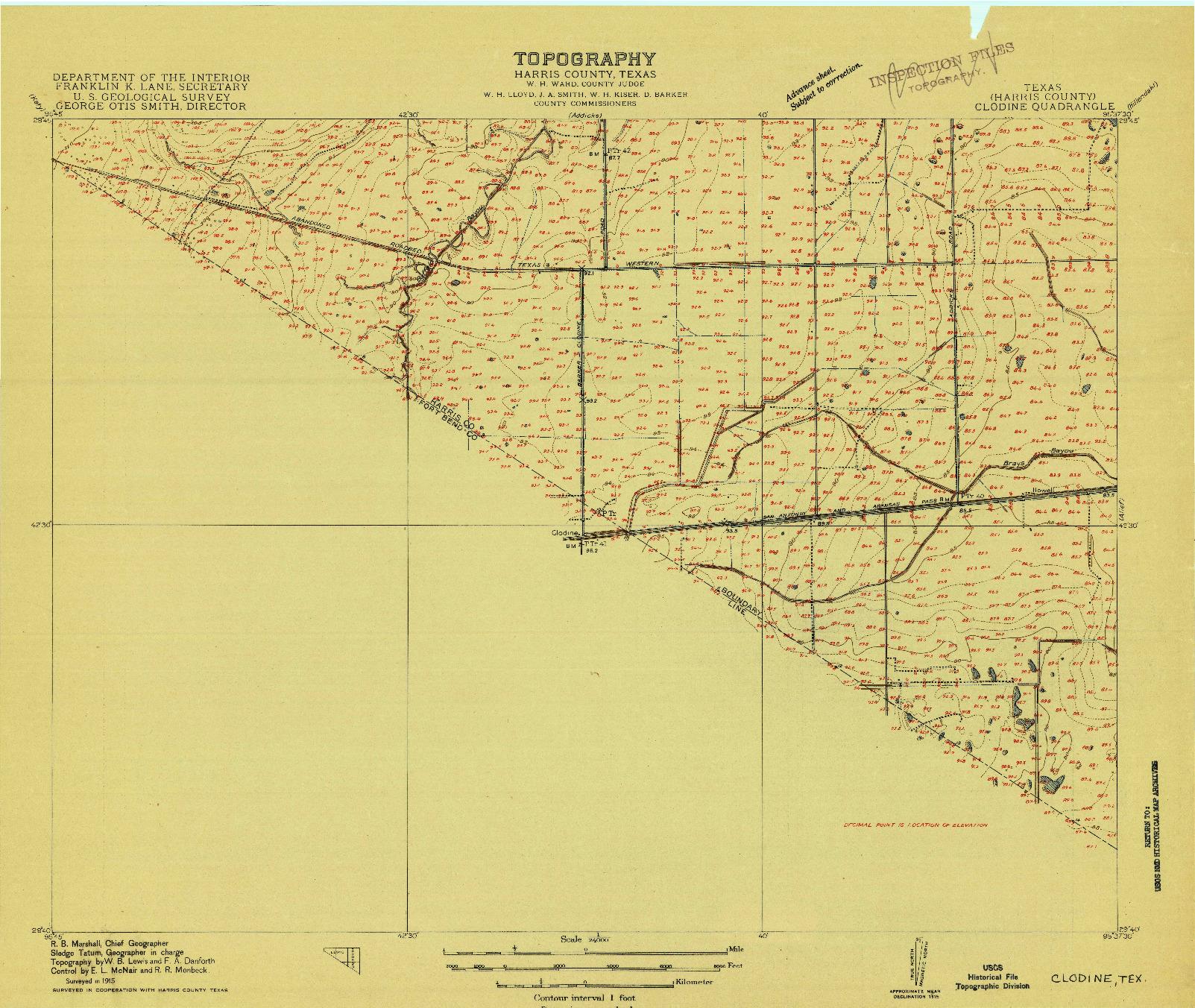 USGS 1:24000-SCALE QUADRANGLE FOR CLODINE, TX 1915