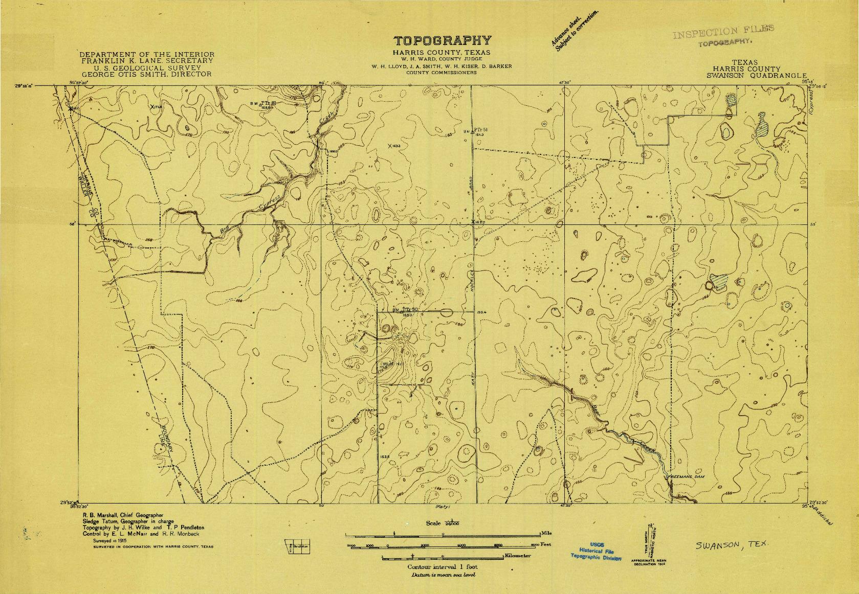 USGS 1:24000-SCALE QUADRANGLE FOR SWANSON, TX 1915