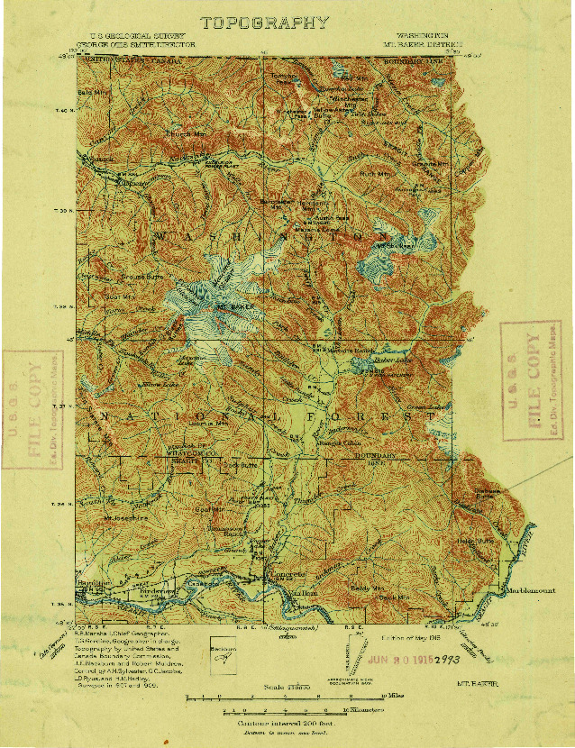 USGS 1:250000-SCALE QUADRANGLE FOR MT. BAKER, WA 1909