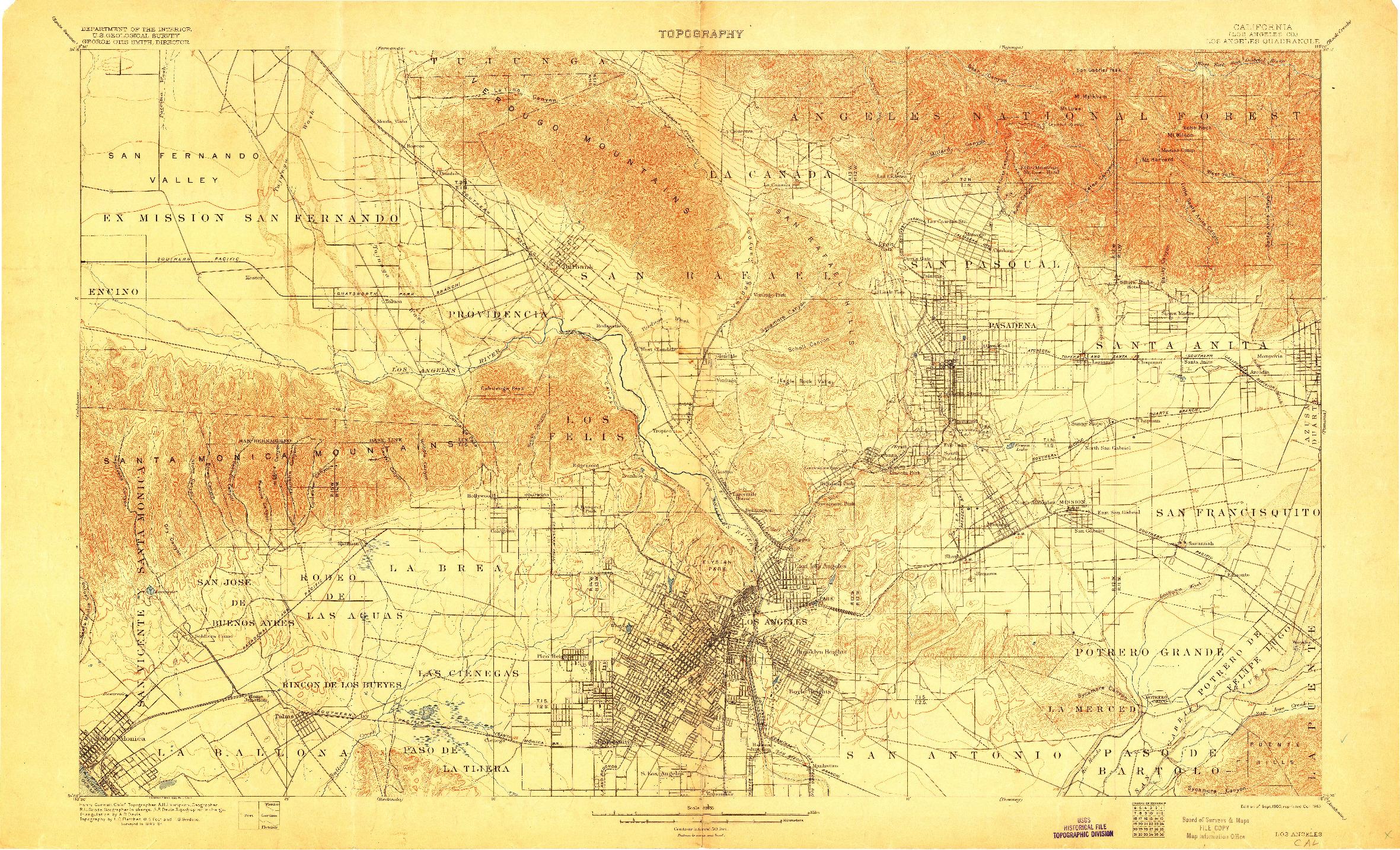 USGS 1:62500-SCALE QUADRANGLE FOR LOS ANGELES, CA 1900